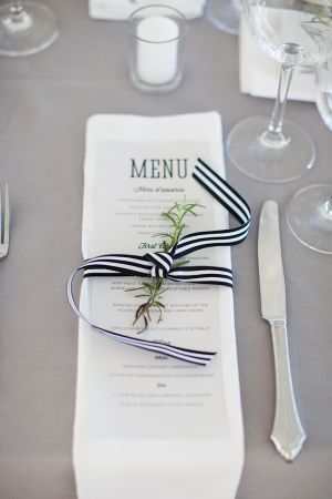 Reception Menu Tied With Black and White Striped Ribbon | photography by http://www.summerstreetphotography.com/