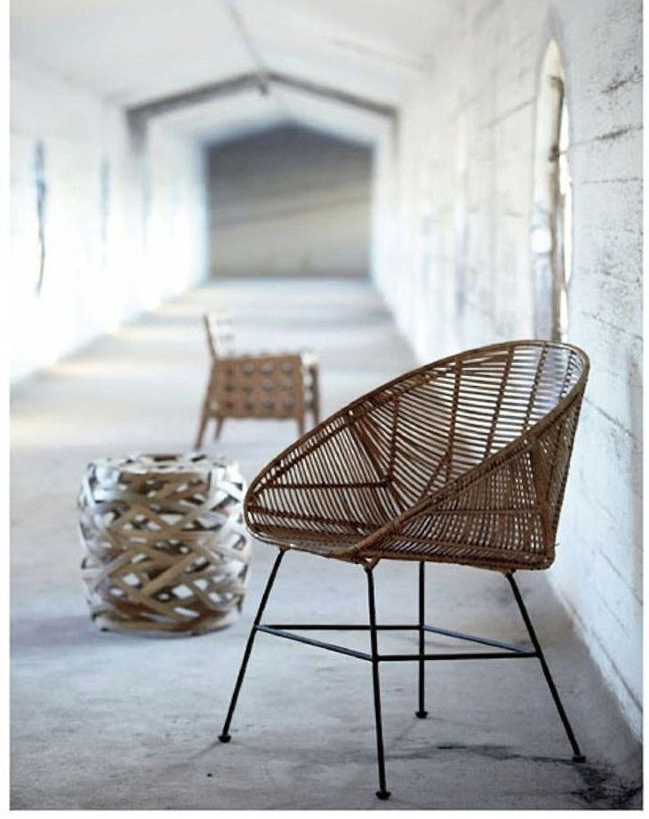 From Danish designers House Doctor, a barrel silhouette and simple metal frame call to mind an Acapulco chair. A woven rattan Rotan Chair is €365 from Living and Company. For more see Gardenista 100: The Best Scandinavian Rattan Chairs.