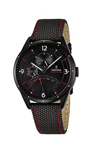 Festina Reloj de hombre de cuarzo con Negro esfera analógica pantalla y correa de cuero negro F16849/2 #relojes #festina