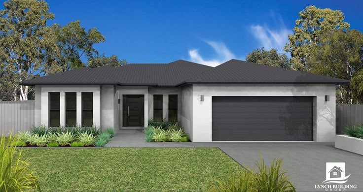 Roof, facia, gutter, windows & Garage door Colorbond Monument - Render Colorbond Surfmist -