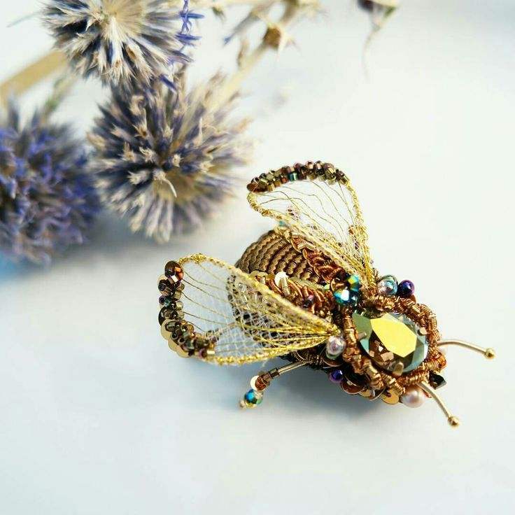 Beetle golden brooch, embroidery insect
