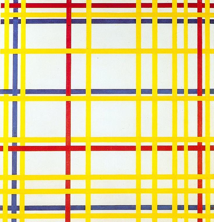 Pet Mondrian, New York City I (1942, Oil on canvas, 119.3 x 114.2 cm), Musée National d'Art Moderne, Centre Georges Pompidou, Paris.