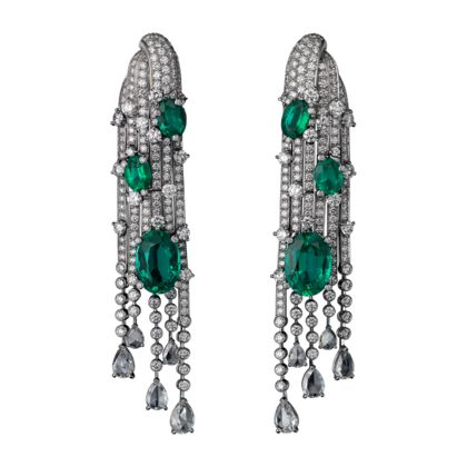 High Jewellery earrings Earrings - white gold, six oval-shaped emeralds from totalling 12.80 carats, pear-shaped rose-cut diamonds, brilliant-cut diamonds.