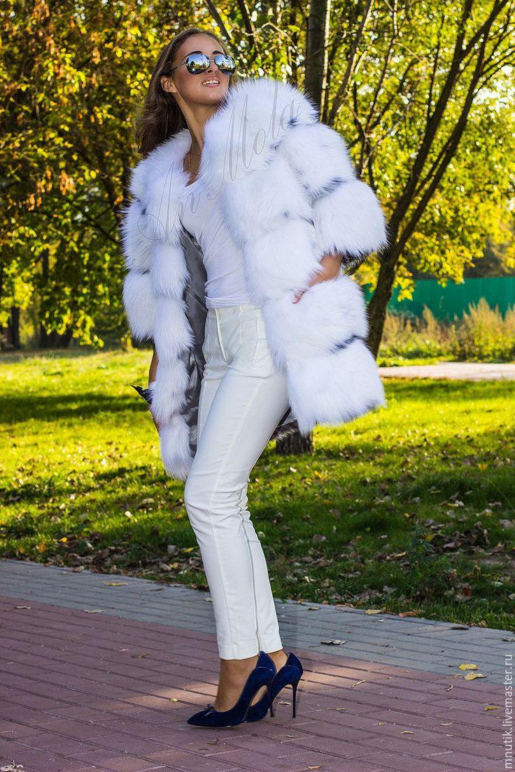 Купить Белая лиса - белый, однотонный, мех натуральный