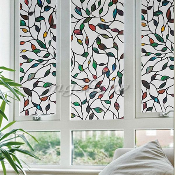 3d leaf static cling stained glass window film window sticker art decor 45x100cm unbranded - Window Film Decorative
