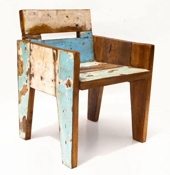 this is an awesome chair, it's like some old barn wood constructed into a retro, yet really modern piece of furniture