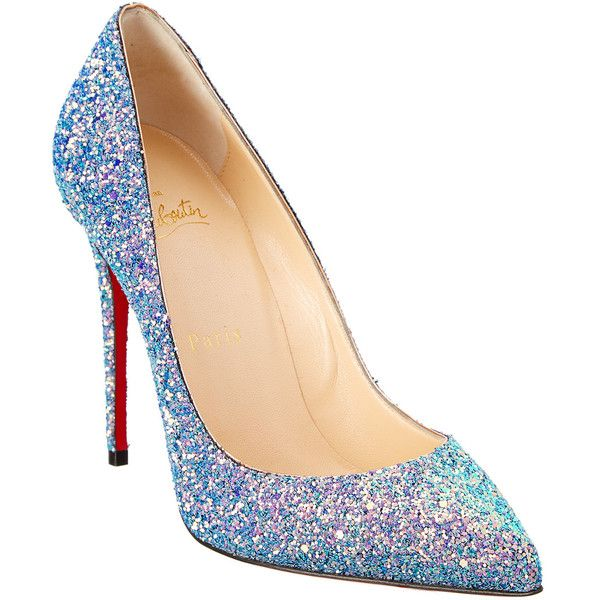 Christian Louboutin Pigalle Follies 100 Glitter Pump ($570) ❤ liked on Polyvore featuring shoes, pumps, blue, christian louboutin, high heeled footwear, glitter pumps, glitter high heel pumps and glitter shoes