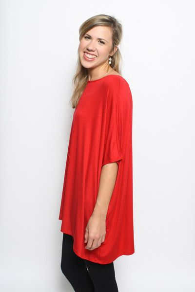 Weekend Chic Slouchy Top: Red