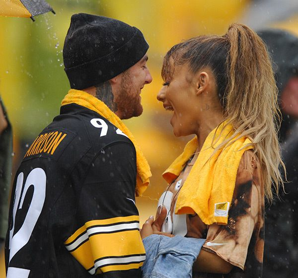 Ariana Grande and her boyfriend Mac Miller at a steelers football game...picture is from Hollywood life website