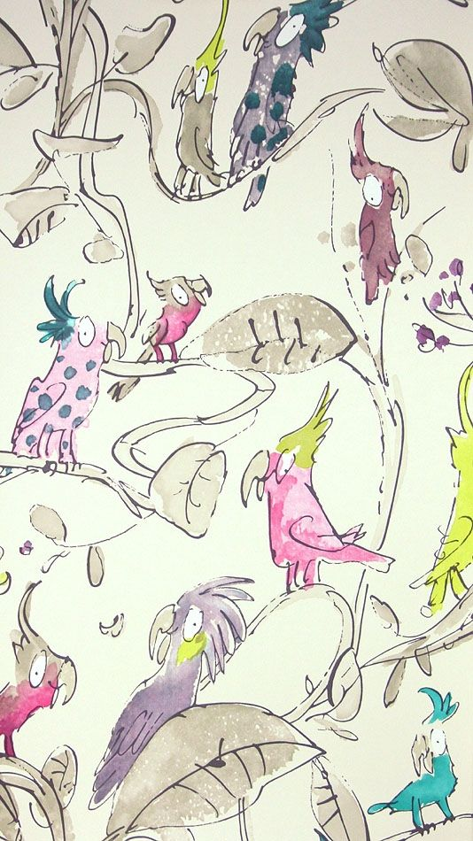 This quirky wallpaper comes in several colorways.  I would use it on a feature wall or in framed panels.
