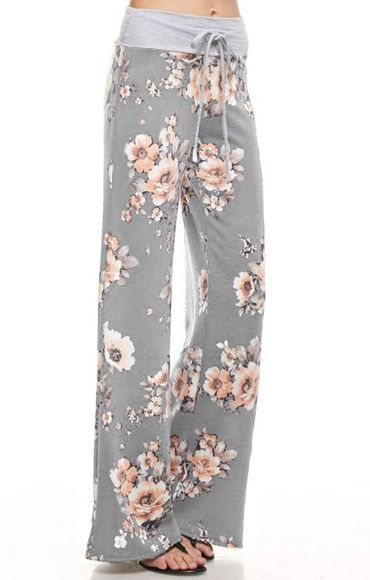 Floral Fancy Lounge Pants - Grey Fall Floral