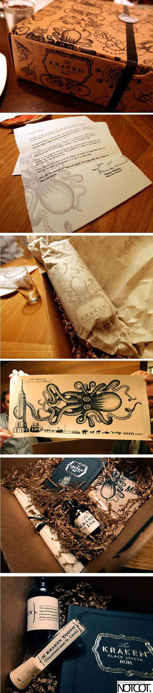Kraken dark rum - awesome packaging for this press release kit by Charmaine Choi (via Behance)