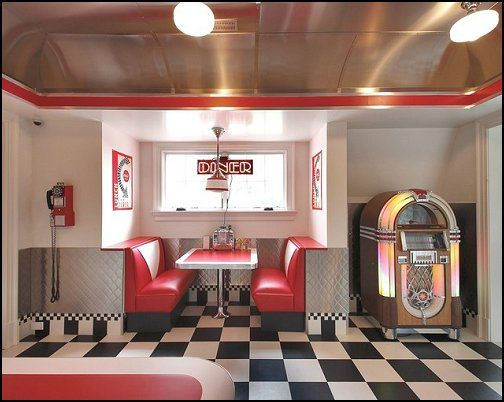 Bedroom Ideas   Theme Decor   Retro Decorating Style   Diner   Party  Decorations   1950 Bedding   Retro Diner Furniture   Elvis Presley   Booth  Dinette ...