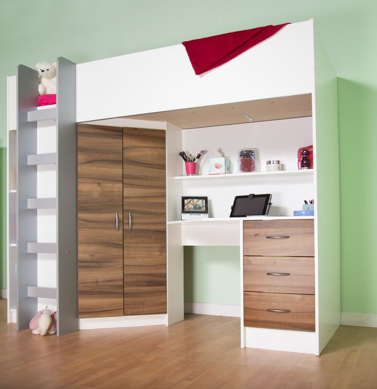 Cambridge High Sleeper Cabin Bed, White/Walnut Prices starting at £319 excluding…