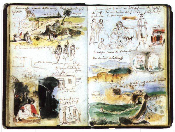 ¤ Moroccan Notebook, by Eugène Delacroix / carnet de voyage au Maroc d'Eugène Delacroix.