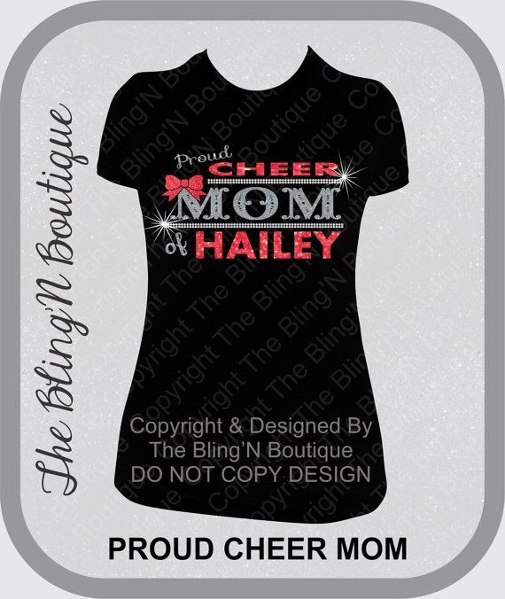 Proud Cheer Mom with Custom Name Rhinestone Shirt, Cheer Mom Shirts, Bling Spirit Mom Shirts