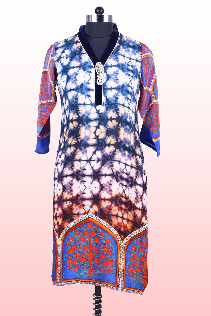 Multi-colour pure georgette printed kurti in v neck-WKR088 #colourful #printed #kurti #summercollection #spring #summertops #beachwear #casual #ladiestop #girlstop