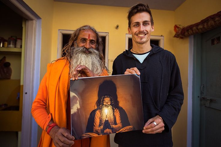 Gifting BabaJi with a print of a photo I took of him. Varanasi, India. For more of my photography visit www.drewhopperphotography.com