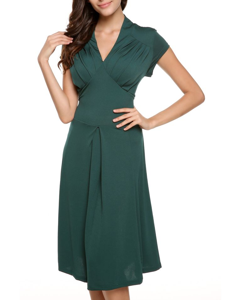 Dark green Cap Sleeve V-neck Knee-length Going Out Dress