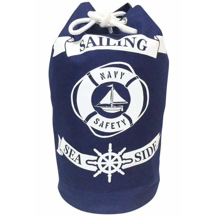 Duffel tas Sailing 54 cm. Blauwe duffel tas met nautische print. De tas is ongeveer 29 x 54 x 29 cm groot en gemaakt van 100% polyester.