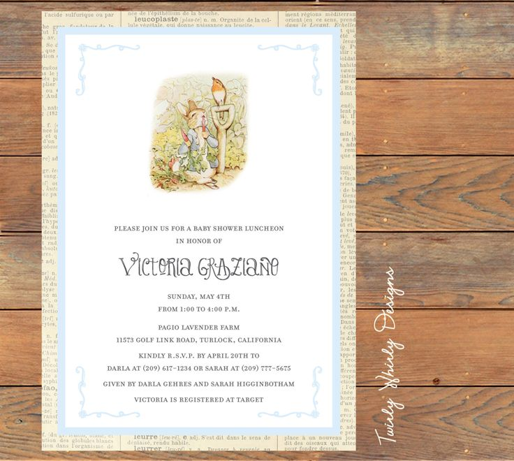 11 best Beatrix Potter Baby Shower Invitations images on Pinterest ...