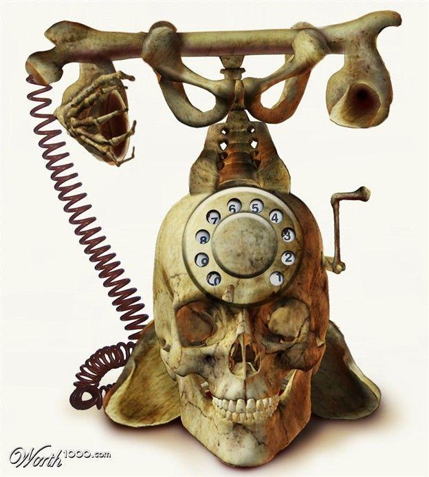 ☠ Skull Desk Phone ☠ !!!!Decor, Tattoo Ideas, Old Schools, Skull Phones, Stuff, Crafts Room, The Offices, Things, Bones Phones