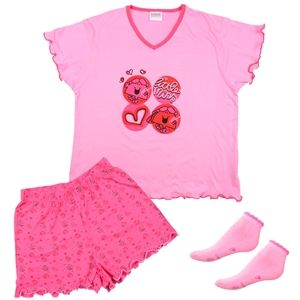 Totes Little Miss Chatterbox Ladies Shorts Pyjamas Slipper Socks Gift Set S/M (Pink)