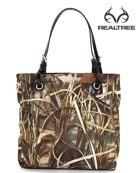 Realtree Max-4 camo and Faux Leather Tote Purse Handbag  #realtreecamo #camohandbags