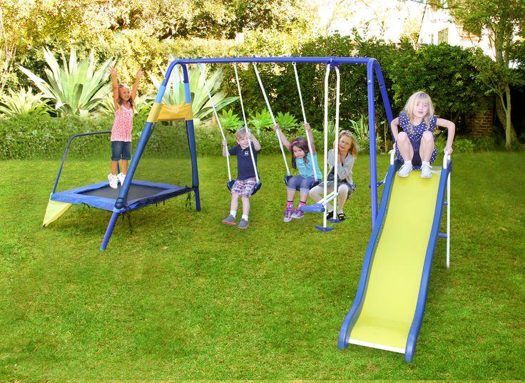 Playground Swing Set Metal With Trampoline U0026 Slide Backyard Garden Kids Fun  NEW