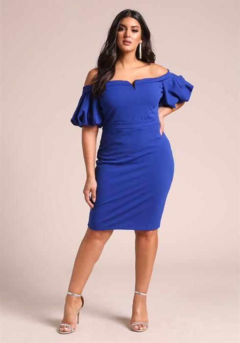 Plus Size Off Shoulder Puff Sleeve Bodycon Dress | DEBSHOPS | This ...