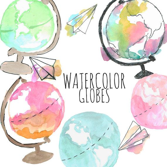 Watercolor clipart  Globe Clipart  Object clipart  by WriteLovely