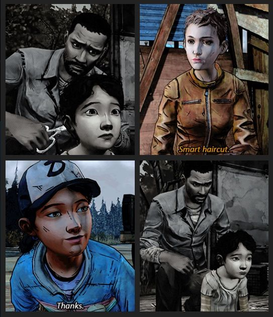Smart haircut - Jane, Clementine and Lee Everett | The Walking Dead (Telltale games)<<< makes me cry