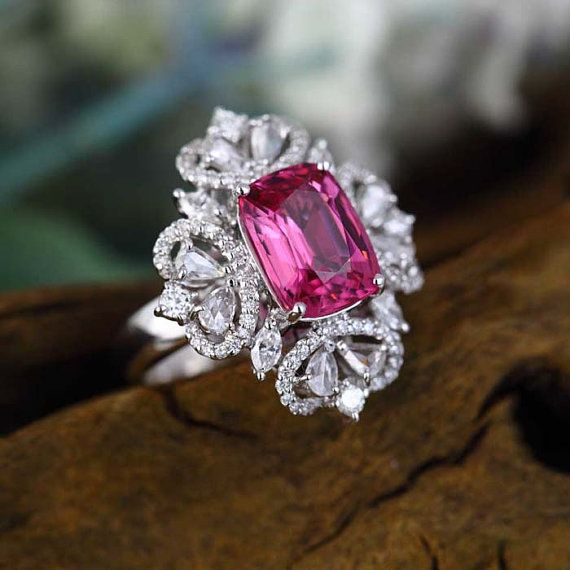 Pink Tourmaline - Engagement Ring (4.6 Carat Pink Tourmaline, 1.3 Carat Diamond…
