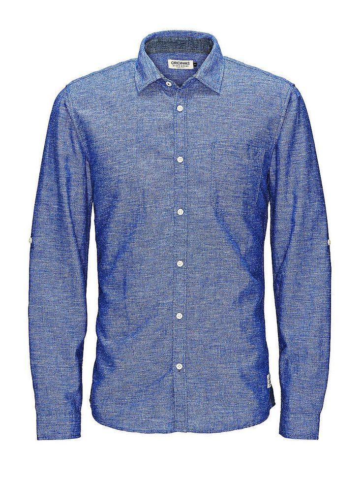 ORIGINALS by JACK & JONES - Langärmeliges Hemd von ORIGINALS - Slim fit - Standardkragen - Brusttasche - Schmale Einsätze an den Seiten - Leichte Baumwoll-Qualität 55% Leinen, 45% Baumwolle...