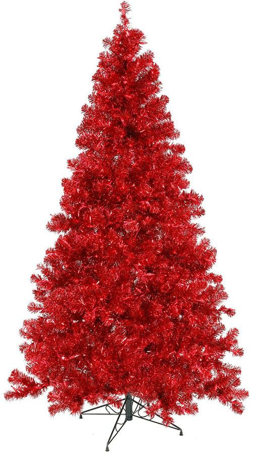 asstd national brand 7 pre lit sparkling red artificial christmas treewith red lights - Red Artificial Christmas Tree