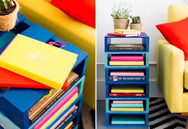 Easy DIY Pallet Projects for the Home - DIY Pallet Bookshelf - DIY Projects & Crafts by DIY JOY at http://diyjoy.com/quick-diy-projects-fast-crafts-ideas