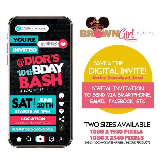 Digital Tik Tok Invitation Tik Tok Birthday Tik Tok Etsy Digital Invitations Digital Invitations