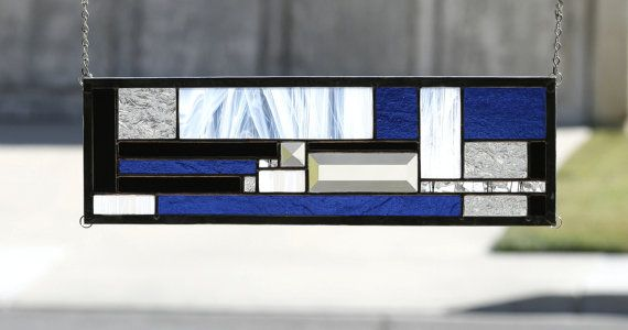 COOL JAZZ - Art Deco Style Glass Window Panel, Small Sidelight or Transom with Cobalt Blue Glass on Etsy, $110.19 CAD