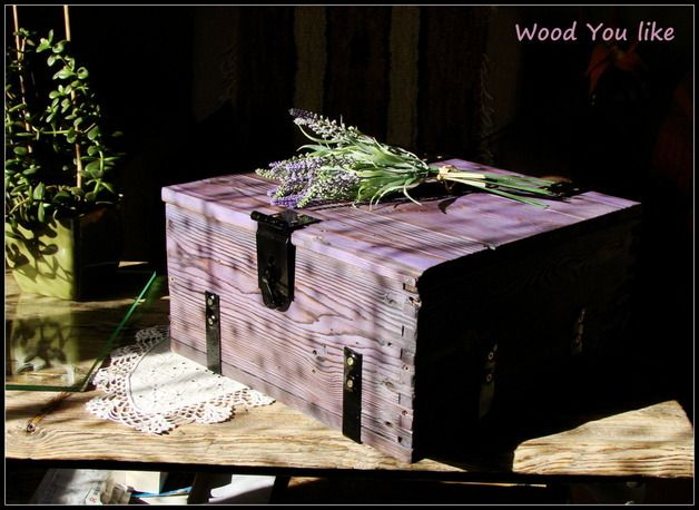 Violet wooden case made from old amunition boxes