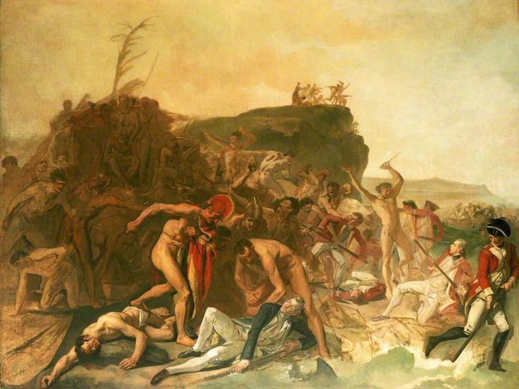 The Death of Captain James Cook, 14 February 1779, by Johann Zoffany National Maritime Museum, c.1795. An unfinished painting showing the death of Captain James Cook, at Kealakekua Bay, Hawaii at the hands of an incensed crowd, during his third Pacific voyage in the ships 'Resolution' and 'Discovery', 1776–1780. Cook is shown lying on the ground in the centre of the painting, wearing a blue coat and white breeches. Cook was knifed in the shoulder and clubbed on the back of the head.
