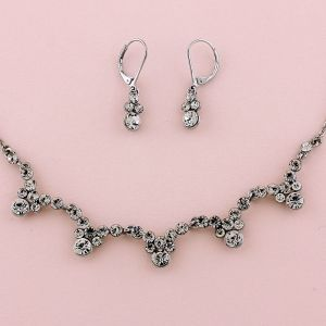 """17-20"""" Silver Necklace & 1-1/4"""" Earring Set"""