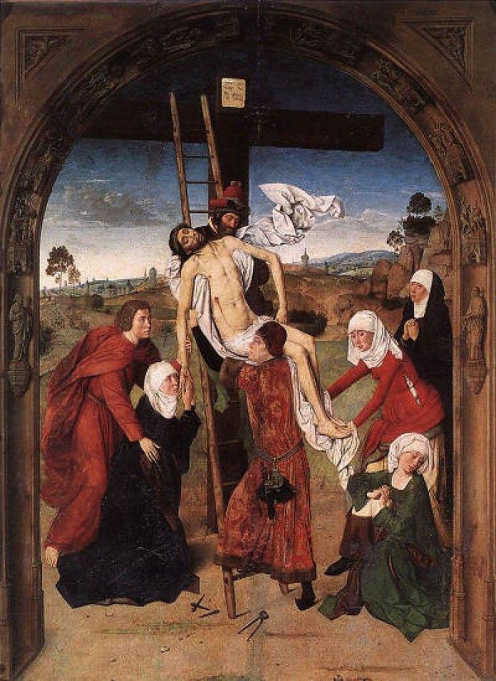 Dirk Bouts, Lijdensaltaarstuk [middenpaneel],  ca. 1455, olieverf op paneel, 191 x 145 cm, Museo de la Capilla Real, Granada, Spanje