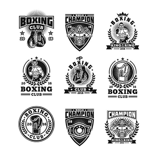 Set Boxing Badges Stickers Isolated On White Boxing Badge Icon