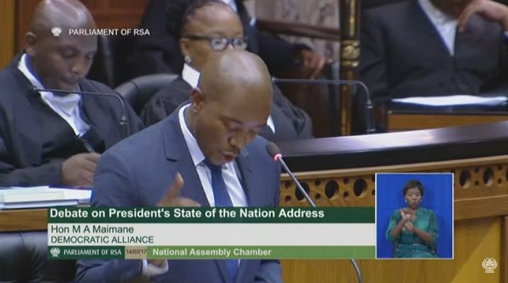 Mmusi Maimane lands the first blow in day one of the #SONADebate The DA leader didn't sugarcoat when he took to the podium on Tuesday. https://www.thesouthafrican.com/mmusi-maimane-lands-the-first-blow-in-day-one-of-the-sonadebate/