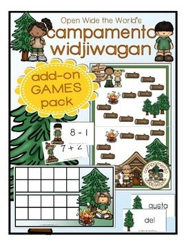 "Would you like your kindergarten graduate to maintain his/her academic skills over summer break? Is your little ""Campista"" loving the ""Campamento Widjiwagan* Review Book""? Then the ""Campamento Widjiwagan Add-on GAMES Pack"" is just what you're looking for!  Designed to coordinate with the month-long Campamento Widjiwagan Review Book, this add-on pack gives Campistas extra fun and practice in a game dynamic!  Campistas can practice fluently adding and subtracting within 10, and/or recognizing…"