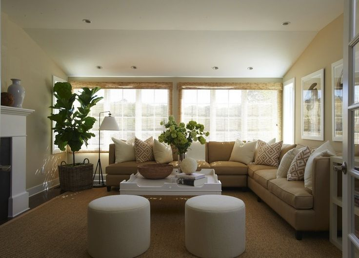 beautiful transitional living room with camel l shaped sectional sofa