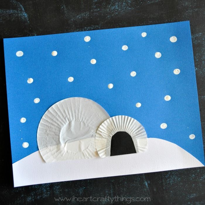 I HEART CRAFTY THINGS: Cupcake Liner Igloo Craft for Kids