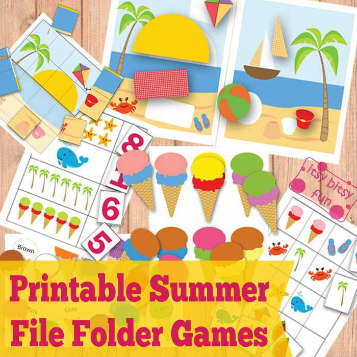 Free Printable Summer File Folder Games use with cookie sheet and magnets for next road trip