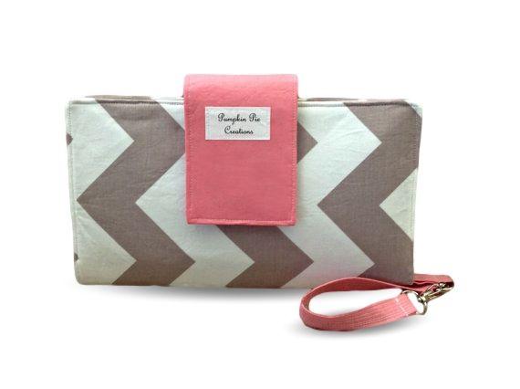 Chevron Nappy Wallet - Clutch - Wristlet - Grey Chevron with Pink