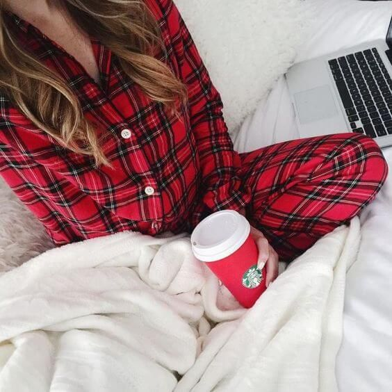 cozy red plaid pajamas, starbucks red cup, shopping from bed